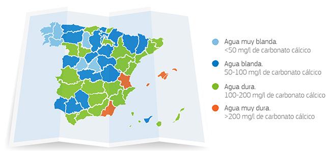 mapa durezas de agua en España