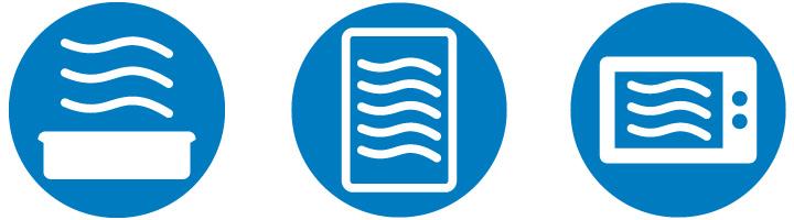 Simbolos de recipientes que se pueden meter al microondas