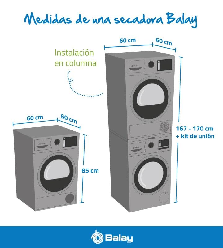 Medidas de una secadora